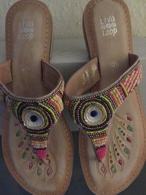 Liva Loop High-Heeled Toe-Post Sandals light pink