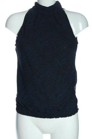 Livre Sleeveless Blouse black-blue animal pattern elegant
