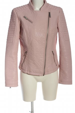 Livre Faux Leather Jacket pink quilting pattern casual look