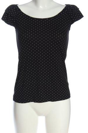 Livre Kurzarm-Bluse schwarz-weiß Punktemuster Casual-Look