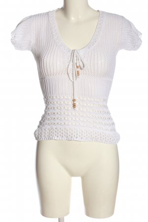 Livre Knitted Jumper white weave pattern casual look