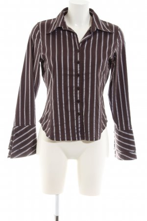 Livre Langarmhemd braun-weiß Streifenmuster Business-Look