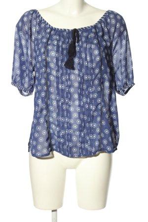 Livre Transparenz-Bluse blau-weiß Allover-Druck Casual-Look