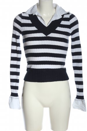 Livre V-Neck Sweater white-blue striped pattern casual look