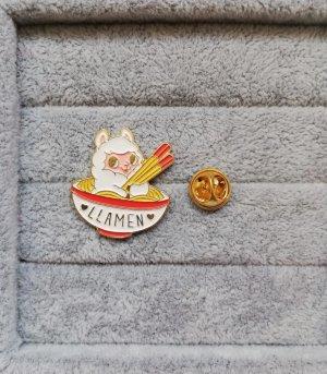 Llamen Lama in Ramen Schüssel Pin Anstecker Brosche Metall