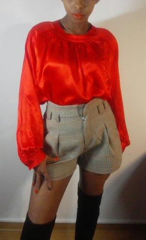 Blouse à manches longues rouge soie