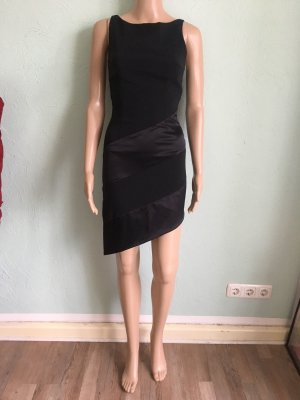 LM Lulu Paris Vintage 90er Kleid Satin Schwarz Asymmetrie