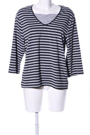 V-Neck Shirt black-light grey striped pattern casual look
