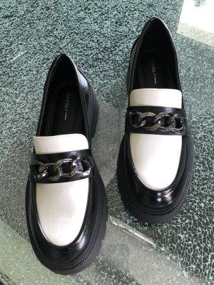 Bershka Buty wciągane czarny-biały