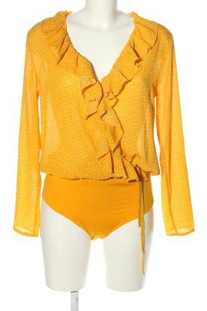 Loavies Camicetta body giallo pallido-bianco motivo a pallini stile casual