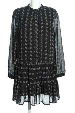 Loavies Blusenkleid schwarz-weiß Allover-Druck Business-Look