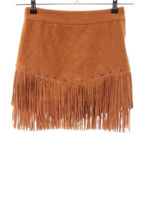 Loavies Fringed Skirt dark orange Aztec print