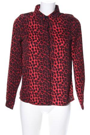 Loavies Hemd-Bluse rot-schwarz Leomuster extravaganter Stil