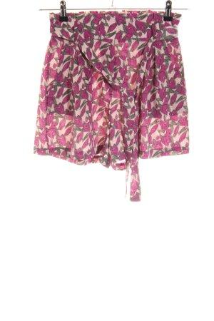 Loavies High-Waist-Shorts violett-khaki abstraktes Muster Beach-Look