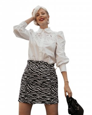 Loavies Jeansrock schwarz-weiß Animalmuster Casual-Look