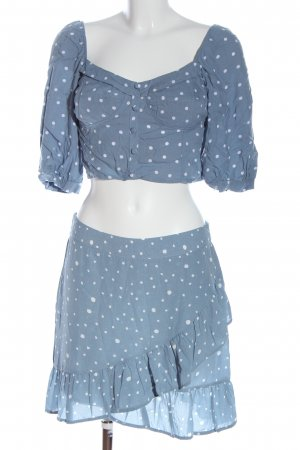Loavies Jersey twin set blauw-wit gestippeld patroon casual uitstraling