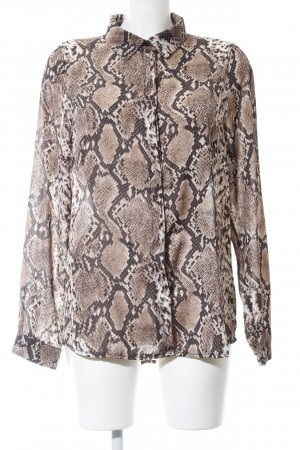 Loavies Langarm-Bluse bronzefarben Allover-Druck Business-Look