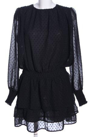 Loavies Langarmkleid schwarz Punktemuster Elegant