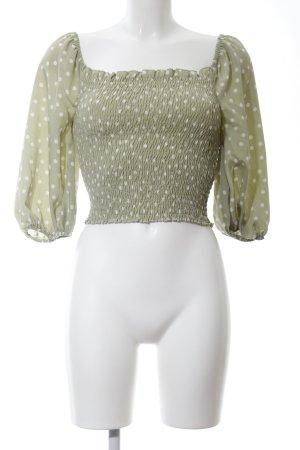 Loavies Schlupf-Bluse grün-weiß Punktemuster Casual-Look