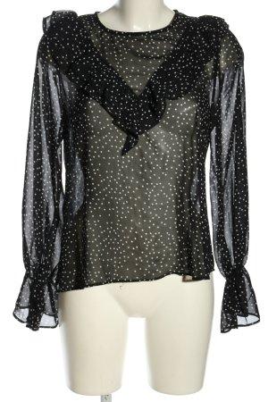 Loavies Schlupf-Bluse schwarz-weiß Punktemuster Casual-Look