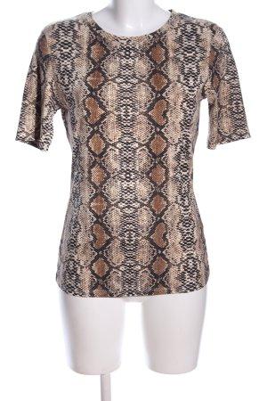Loavies T-Shirt braun-schwarz Allover-Druck Casual-Look