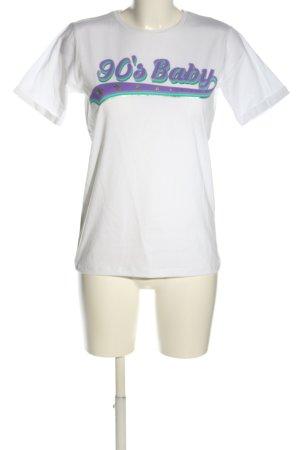 Loavies T-Shirt weiß-lila Schriftzug gedruckt Casual-Look