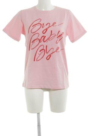 Loavies T-Shirt rosa-rot Schriftzug gedruckt Casual-Look