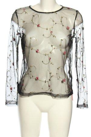 Loavies Transparenz-Bluse schwarz-wollweiß Casual-Look
