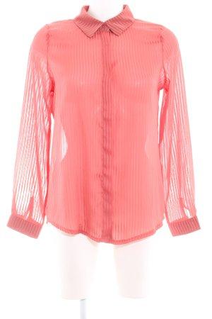 Loavies Transparenz-Bluse rostrot Streifenmuster Glanz-Optik