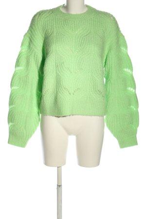 Loavies Zopfpullover grün Zopfmuster Casual-Look