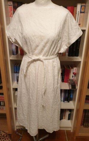 Lochmuster Lochstickerei Gr. 34, weiß Midikleid Kleid Baumwolle €100