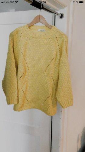 Mango casual Warkoczowy sweter żółty