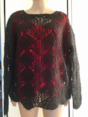 Lochmuster, Wolle Pullover, schwarz,Gr.L, 20€