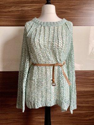 Biba Pull en crochet gris vert-blanc cassé