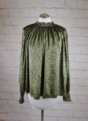 Locker Weit Tunika Bluse H&M Größe 42 L Khaki Grün Schwarz Animal Print Stehkragen Satin Cape Smoking Punkte Dots Gerüscht Oversize