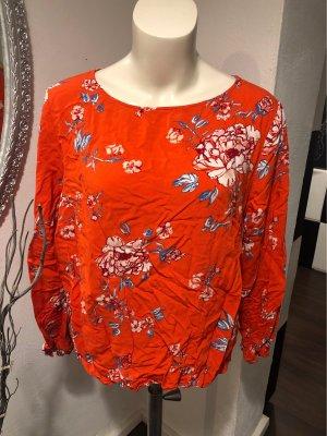 Lockere Bluse mit Blumen-Muster und Knopfleiste am Rücken