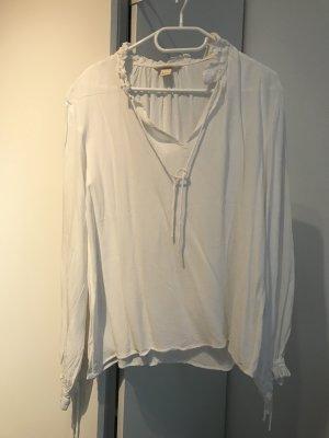 H&M Ruche blouse wit-licht beige