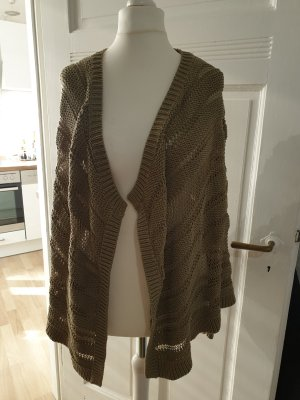 Esprit Cardigan en crochet gris brun-ocre coton