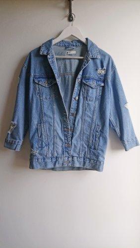 Lockere Jeansjacke derb oversized used Look hellblau Risse 80s 90s Jeansblouson grunge