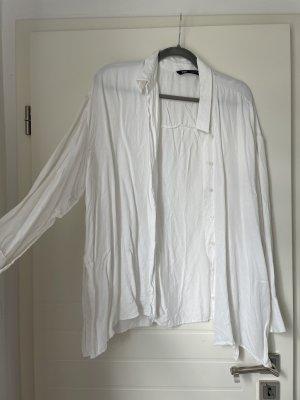 Lockere Oversized Bluse Weiß Zara