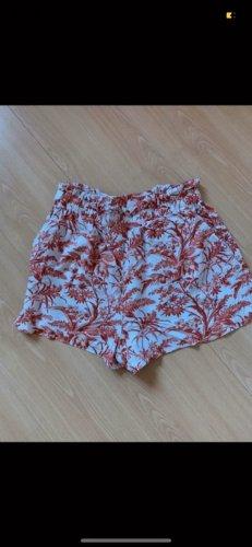 H&M Spodnie Capri biały-jasny pomarańczowy