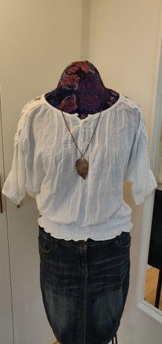 lockere Tunika, Bluse, weiß, Baumwolle Gr. 38 mit Spitze