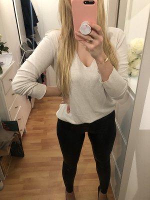 Lockerer Pullover V Creme ZARA M