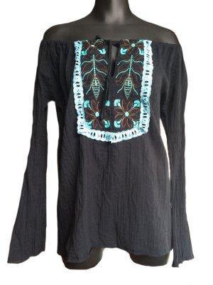 JP Camisa tipo Carmen negro-azul bebé Algodón