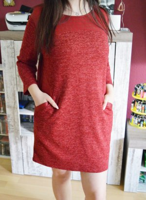 lockeres Feinstrick Kleid in Rot