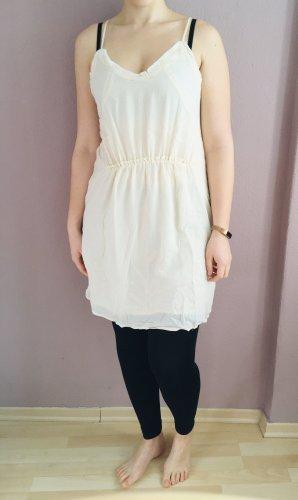 Lockeres Ivory-farbenes Kleid mit Spitzeneinsatz