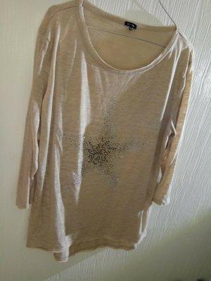 lockeres lässiges Shirt beige mit BW Polyester mit Strass Deko 3/4 Ärmel 42