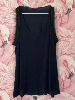 Zara Blouse topje donkerblauw-zwart Katoen