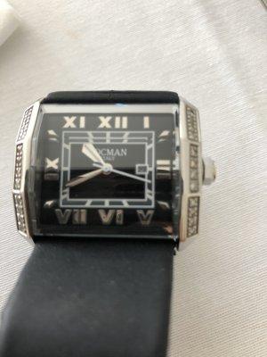 Analoog horloge zwart-zilver Edelstaal