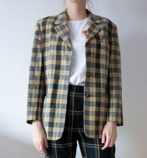 Lodenfrey Vintage Country langer Blazer Wolle Jacke kariert Karo gelb oliv Gr. 40 42